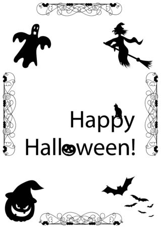 Spooky illustration with Halloween elements Stock Vector - 5992204
