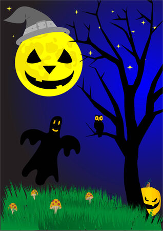 Scary illustration with Halloween elements Stock Vector - 5992234