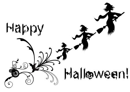 Halloween illustration with swirls and witch Stock Vector - 5992213