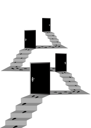 Illustration of hierarchy stairs with text-boxes