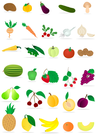 Set of fruits and vegetables Stock Vector - 6016582