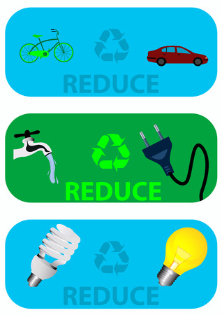 reducing: Conceptual labels about reducing the pollution and earth reserves Illustration