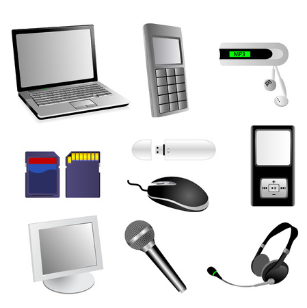 Set of detailed electronic multimedia vector elements
