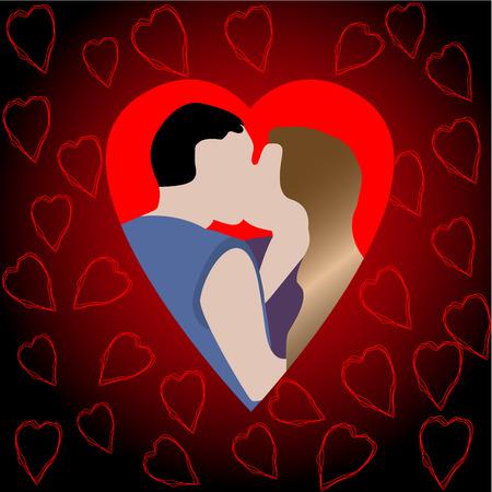 innamorati che si baciano: Romance illustrazione degli amanti di baciare