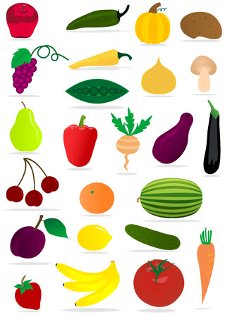 Set of various fruits and vegetables Stock Vector - 6016540