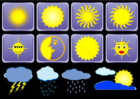 meteorologic: Weather signs on glossy buttons
