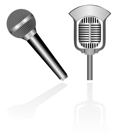Illustration of two microphones, old and modern Vectores