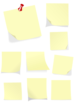 Set of isolated yellow notes Vector