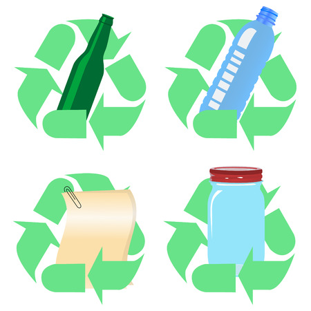 Various icons with the concept of recycling Vector