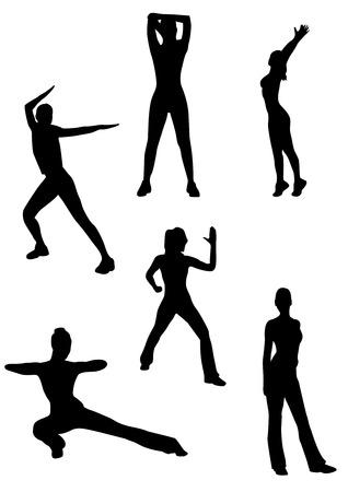 Illustration of some women doing gymnastics Vector