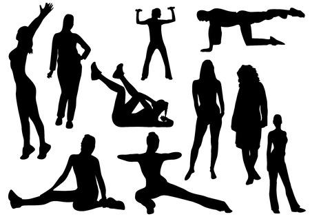 Ilustración de algunas mujeres y un hombre haciendo Gimnasia