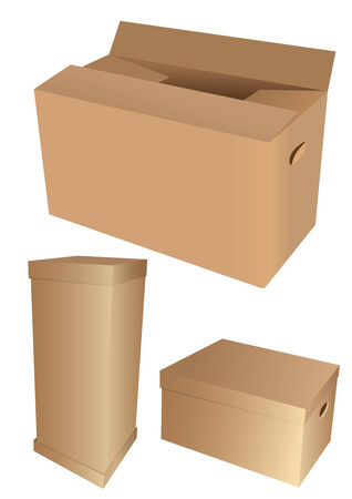 noname: Set of 3d cardboard boxes, isolated on white background