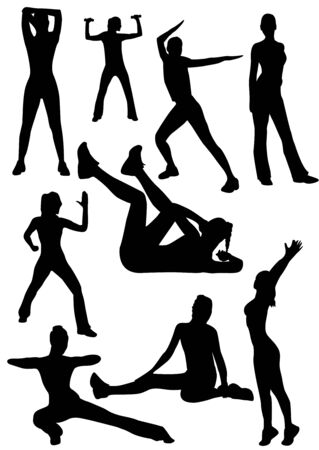 Illustration of some women doing gymnastics