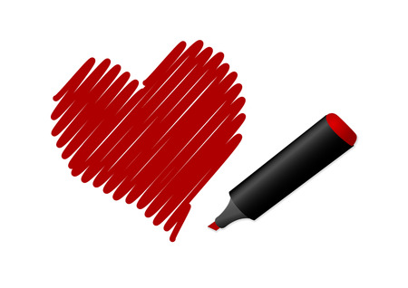 Illustration of a drawn red heart Vector