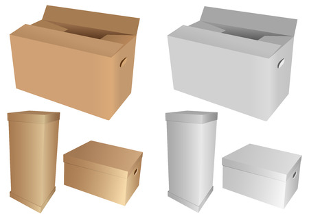 Set of 3d cardboard boxes, isolated on white background Vector