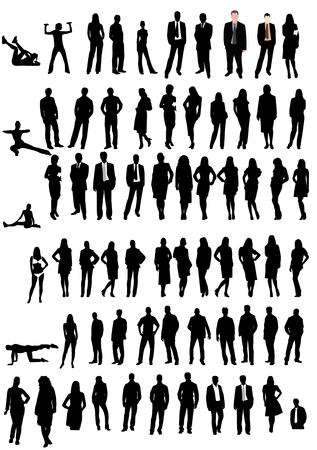 flexible business: Illustration of men and women shapes