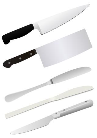 Illustration of detailed knifes, isolated on white background Illustration