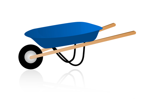 carting: Illustration of a detailed wheelbarrow, isolated on white background