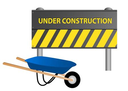 Illustration of an under construction sign with wheelbarrow Vector