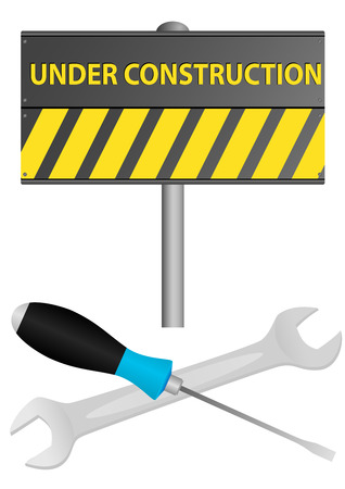 Illustration of under construction sign with screwdriver and wrench Vector