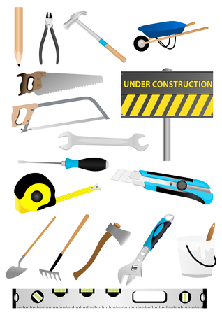 under construction sign: Illustration of under construction sign with screwdriver and wrench