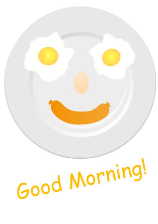 granizo: Ilustraci�n de una placa blanca feliz con la comida