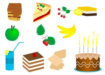 pastel de manzana: Ilustraci�n de un conjunto de pasteles y frutas Vectores