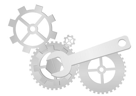 sinergia: Conjunto de engranajes y llave aislados sobre fondo blanco