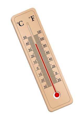 Illustratie van een thermometer met geïsoleerd op witte achtergrond  Vector Illustratie