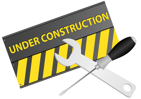 Illustration of under construction sign with screwdriver and wrench