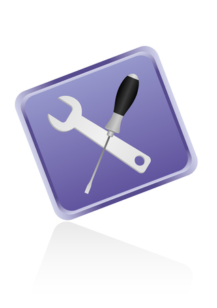 Detailed wrench and screwdriver web button Vector