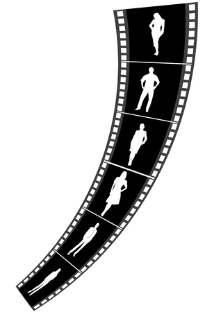 Illustration of a film strip with business people Vector