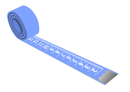cintas metricas: Ilustraci�n de un azul medir la cinta aislado sobre fondo blanco Vectores