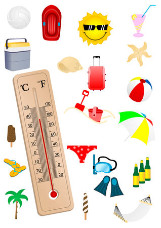 Illustration of a thermometer and some summer elements