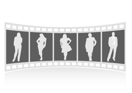 photographs: Illustration of a film strip with business people Illustration
