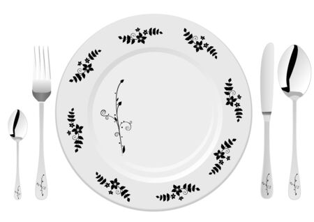 White plate with drawing and fork, knife and spoons Vector