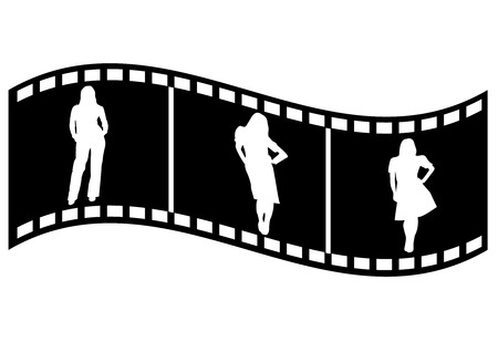 Illustration of a film strip with business people Vectores