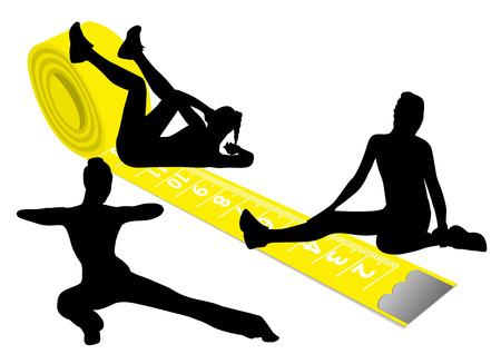 Illustration of a yellow measuring tape and gymnastics silhouette Vector