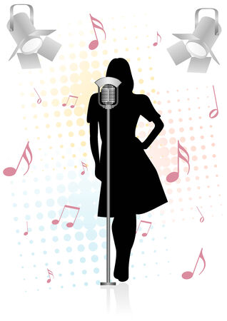 sings: Grungevintage illustration with girl and microphone