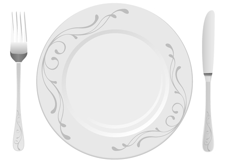 dinning table: White plate with drawing, isolated on white background Illustration