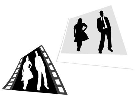 Afbeelding van een film strip en foto met zaken mensen