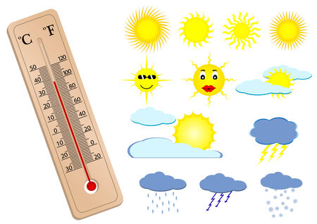 Illustration of a thermometer and some weather elements