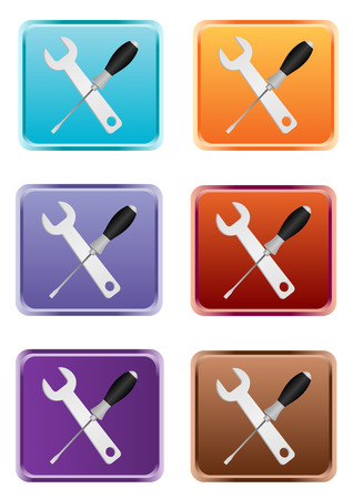 Detailed wrench and screwdriver web button Stock Vector - 6668456