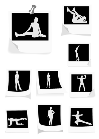 Illustration of some instant photos with girls doing gym Vector