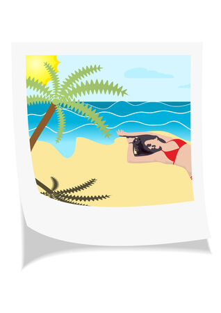 Illustration of a photo with girl laying on the sand, near the sea