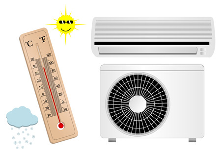 Air conditioner illustration with thermometer Vector