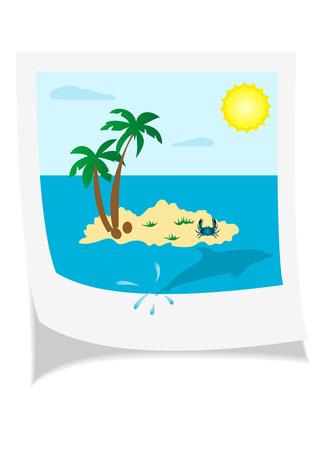 Illustration of a seaside photo isolated on white background