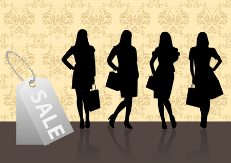 Shopping illustration with women on pattern background Stock Vector - 6668475