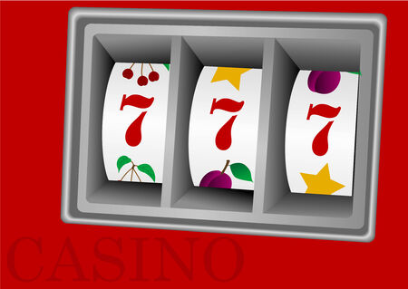 Illustration of a slot machine on red background