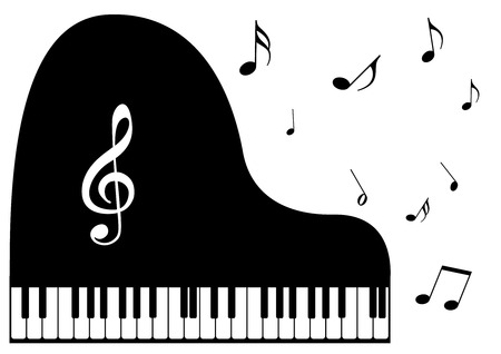 Illustration of a piano and music notes Vector